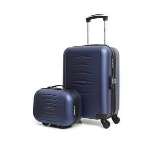 Set modrého cestovného kufora na kolieskach a kufríka INFINITIF
