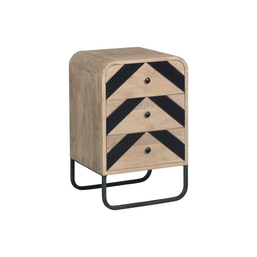 Komoda z masívneho mangového dreva s čiernymi detailmi Woodjam Chevron Sofa