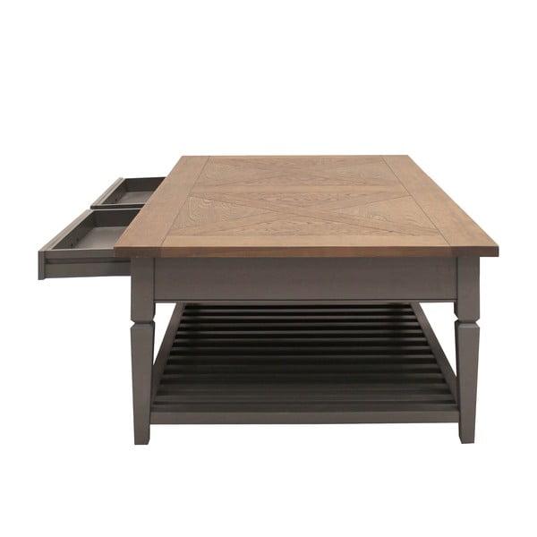 Sivý konferenčný stolík s 2 zásuvkami Canett Royal