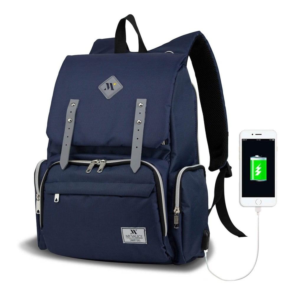 Tmavomodrý batoh pre mamičky s USB portom My Valice MOTHER STAR Baby Care Backpack