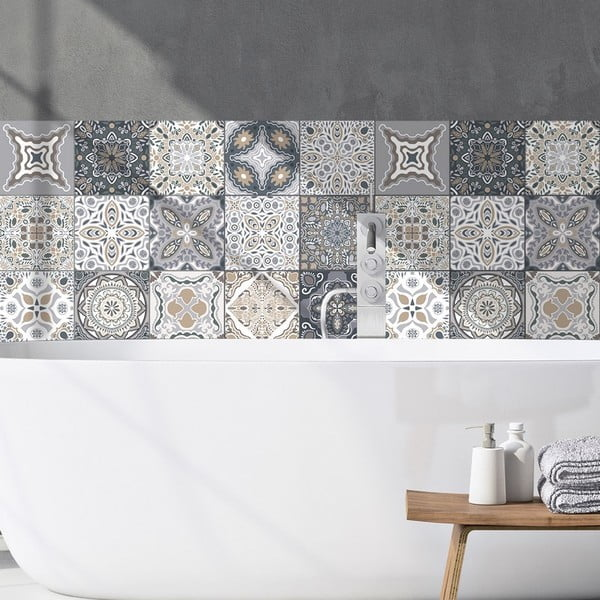 Sada 9 dekoratívnych samolepiek na stenu Ambiance Orfeo, 20×20 cm