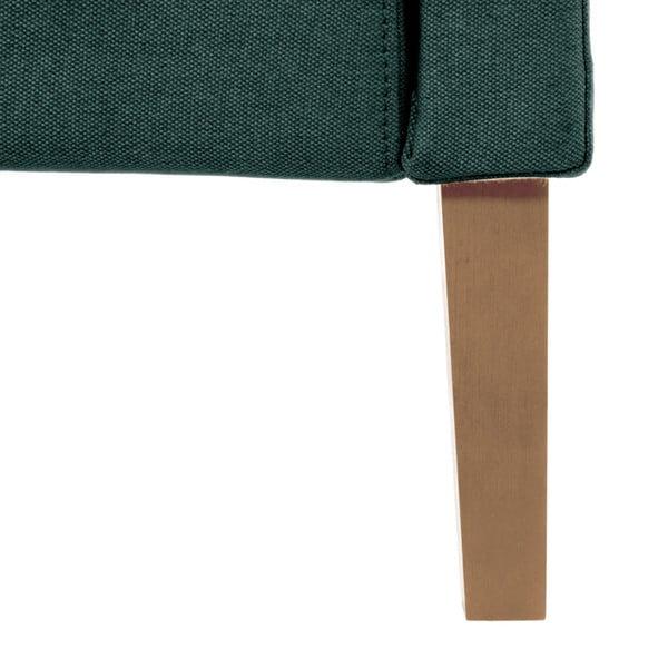 Petrolejová zelená posteľ s prírodnými nohami Vivonita Windsor, 160 x 200 cm