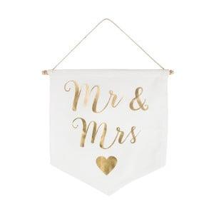 Dekoratívna vlajka Sass & Belle Mr And Mrs Gold Message