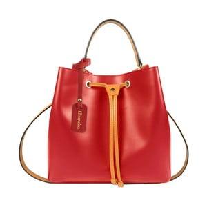 Červená kožená kabelka s oranžovým detailom Maison Bag Lexy