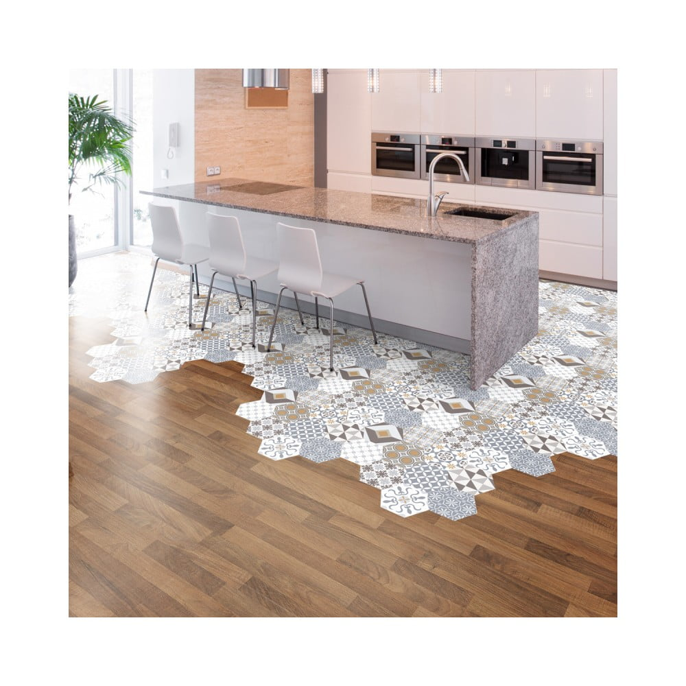 Sada 10 samolepiek na podlahu Ambiance Floor Stickers Hexagons Juliana, 40 × 90 cm