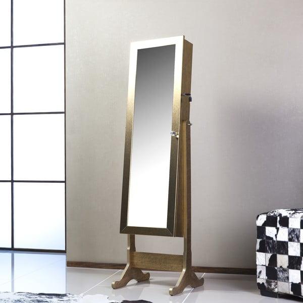 Uzamykateľné stojacie zrcadlo so šperkovnicou Angelita, zlaté