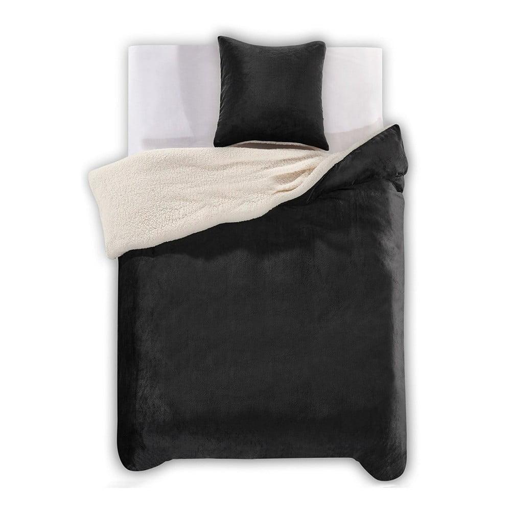 Čierne obliečky z mikrovlákna DecoKing Teddy, 135 × 200 cm