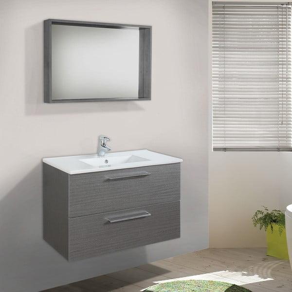 Kúpeľňová skrinka s umývadlom a zrkadlom Giro, odtieň sivej, 80 cm