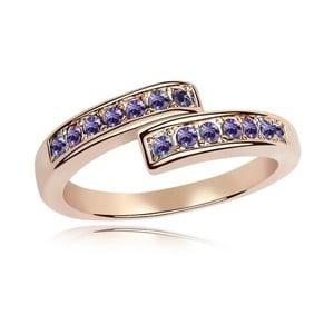 Prsteň s fialovými krištáľmi Swarovski a ružovým zlatom Letticia, veľkosť 52