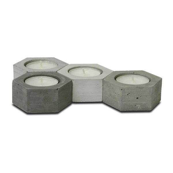 Sada 4 betónových svietnikov od Jakuba Velínského Hexagon