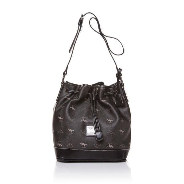 Kožená kabelka Canguru Bucket, čierna