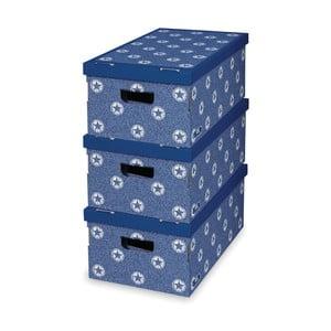Sada 3 modrých úložných krabíc Domopak