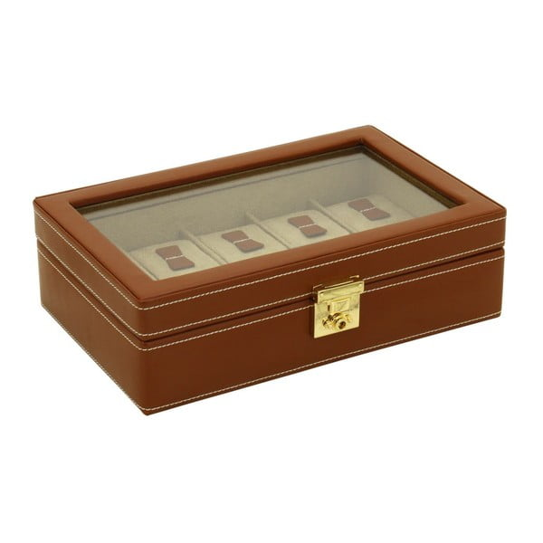 Hnedý box na 10 hodiniek Friedrich Lederwaren Cordoba