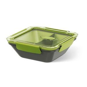Krabička na potraviny Rectangular Black/Green, 0,9 l