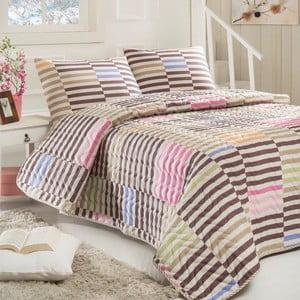 Sada prešívanej prikrývky na posteľ a vankúša Zebrano Grey, 160x220 cm