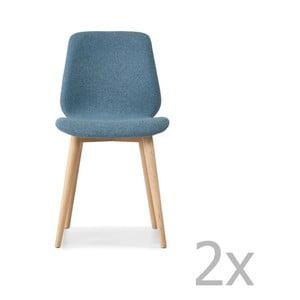 Sada 2 modrých jedálenských stoličiek s nohami z masívneho dubového dreva WOOD AND VISION Cut
