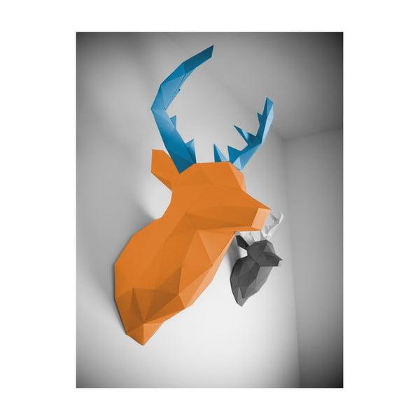 Papierová trofej Jeleň XL, oranžovo-modrý