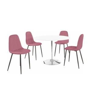 Sada okrúhleho jedálenského stola a 4 ružových stoličiek Støraa Terri