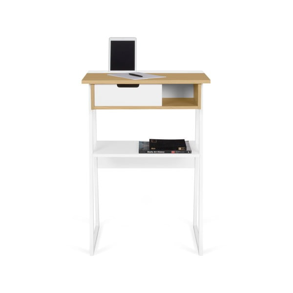 Pracovný stolík s doskou z duba a bielymi nohami TemaHome Space