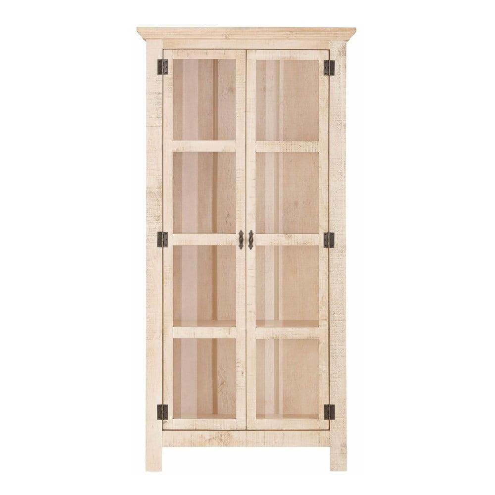 Krémová dvojdverová vitrína z masívneho borovicového dreva Støraa Marilyn