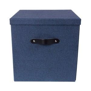Modrý úložný box na dokumenty s koženým úchytom Bigso, 31,5×31 cm