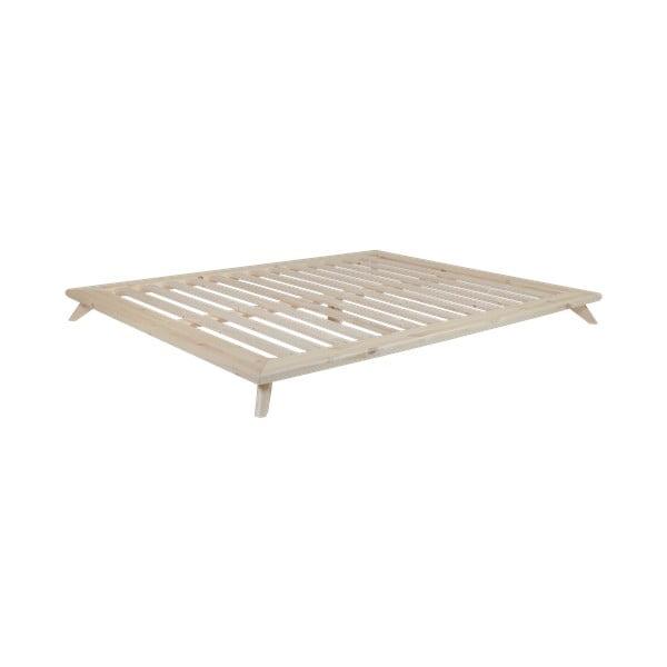 Dvojlôžková posteľ z borovicového dreva s matracom Karup Design Senza Comfort Mat Natural/Natural, 140 × 200 cm