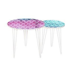 Sada 2 odkladacích stolíkov Pink And Blue, 35 cm + 49 cm