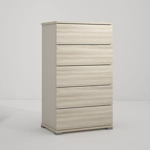 Sivá komoda s 5 zásuvkami v dekore brestového dreva Terraneo