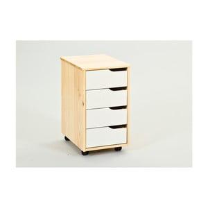 Pojazdná skrinka so zásuvkami z masívneho borovicového dreva Interlink Gudjam