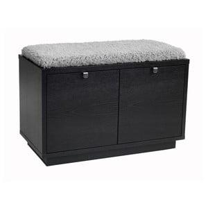 Čierna lavica s úložným priestorom a so sivým sedadlom Folke Confetti, šírka 70 cm