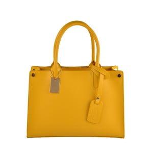 Žltá kožená kabelka Florence Bags Manor