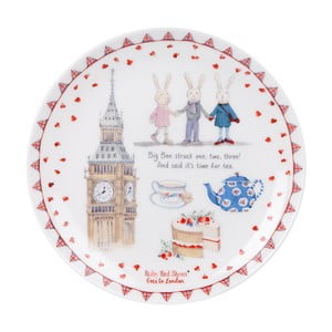 Dezertný tanier z kostného porcelánu Ashdene Ruby Red London Big Ben, ⌀ 15 cm