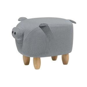 Sivá podnožka v tvare prasiatka Monobeli Pig, 32 x 50 cm