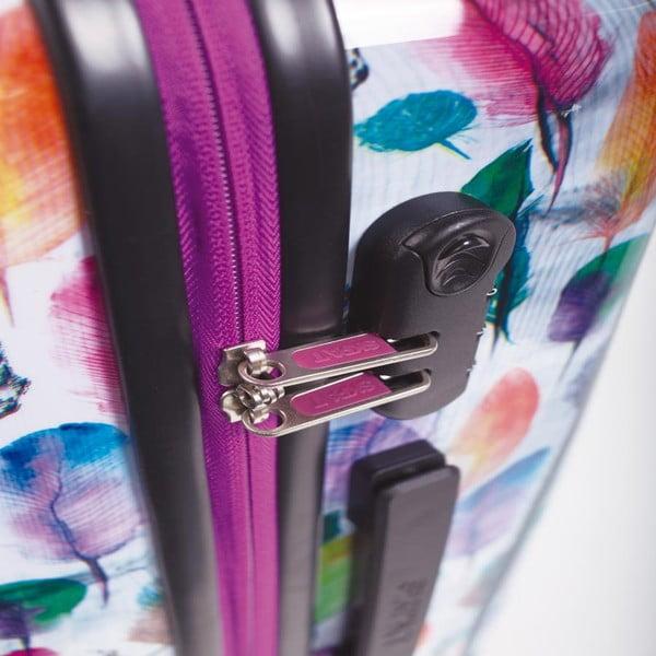Sada 2 bielych cestovných kufrov s farebnými lístkami SKPA-T
