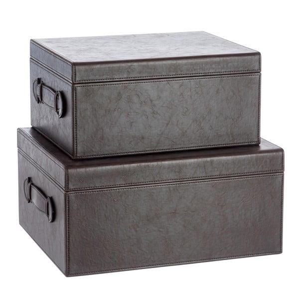 Sada 2 koženkových boxov Leather