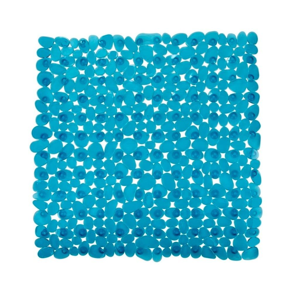 Petrolejove modrá protišmyková kúpeľňová podložka Wenko Drop, 54 × 54 cm