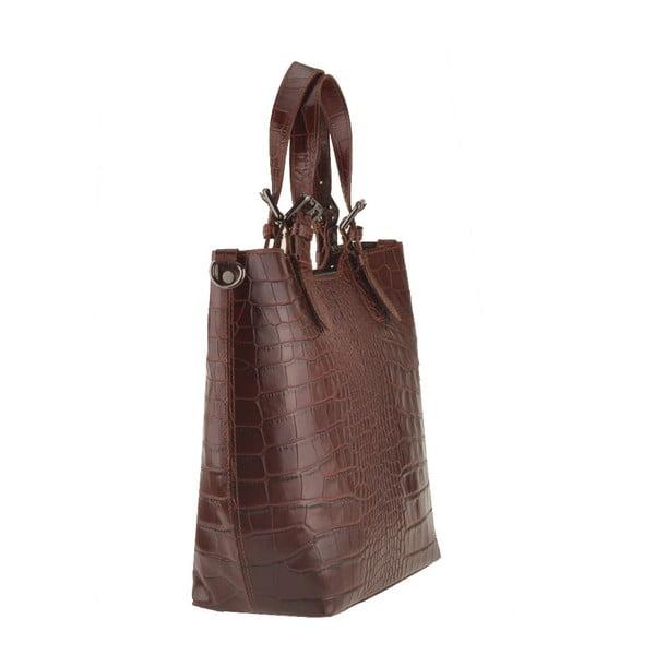 Kožená kabelka Pesca, tm. hnedá