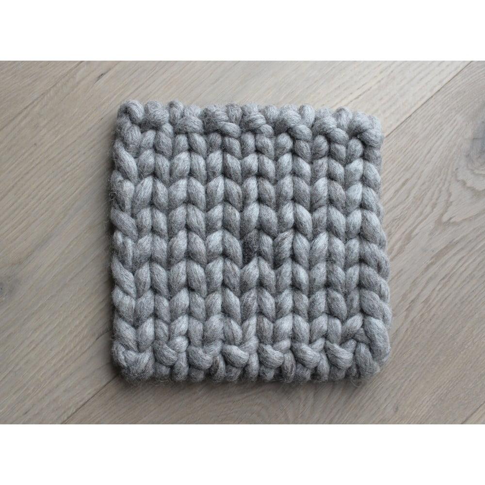 Pieskovohnedá pletená podložka pod pohár z vlny Wooldot braider Coaster, 20 x 20 cm