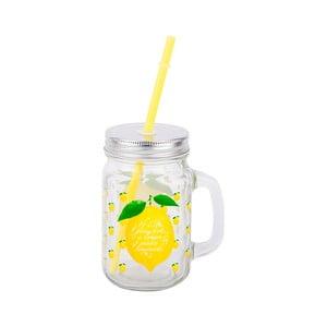 Sklenený pohár so slamkou Tantitoni Lemon, 475 ml