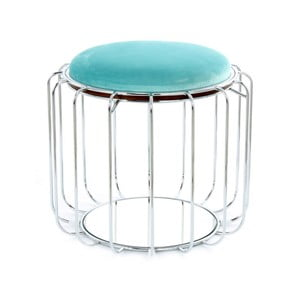 Tyrkysový odkladací stolík / puf s konštrukciou v striebornej farbe 360 Living Canny, Ø50cm