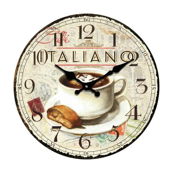 Sklenené hodiny Káva, 30 cm