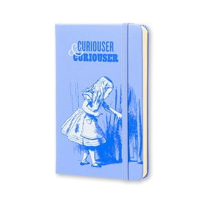Malý modrý zápisník Moleskine Alice In Wonderland, bezlinajok