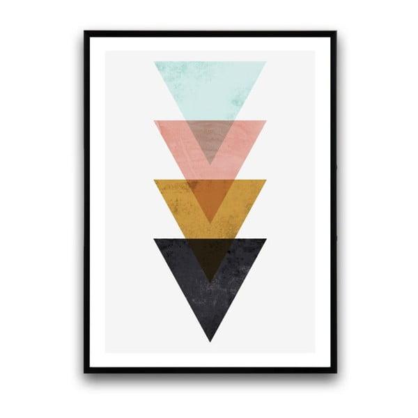 Plagát v drevenom ráme Triangles, 38x28 cm