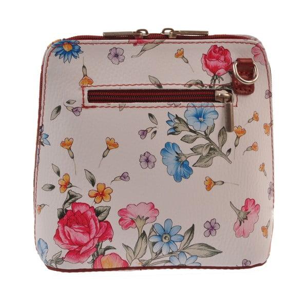 Kvetinová kožená kabelka Florence Bags Vaire, bordó zips