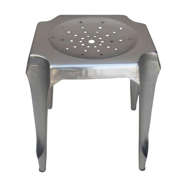 Kovová stolička Tabouret, strieborná