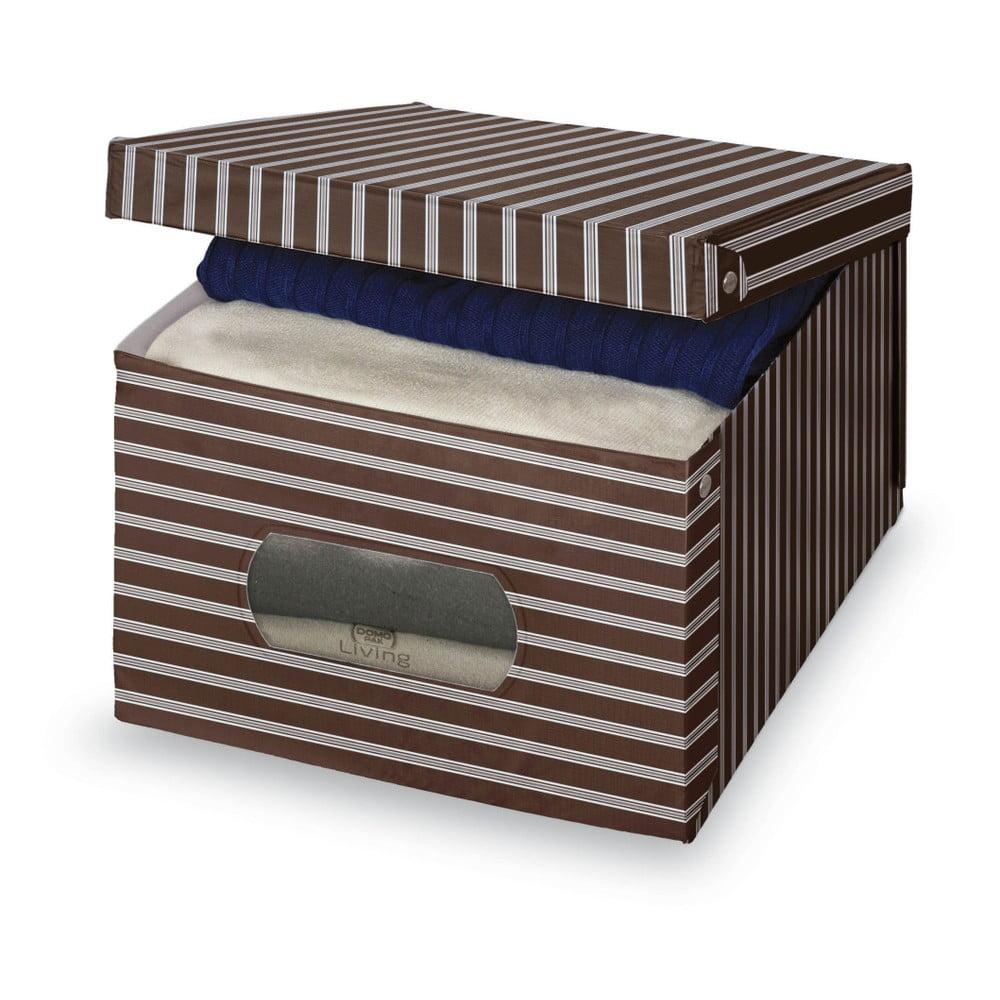 Hnedo-sivý úložný box Domopak Living, 24 × 50 cm