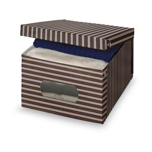 Hnedo-sivý úložný box Domopak Living, 24x50cm