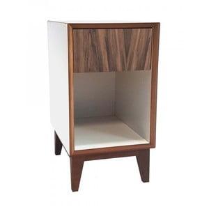 Veľký nočný stolík s bielym rámom a hnedou zásuvkou Ragaba PIX