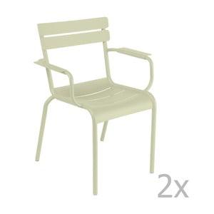 Sada 2 zelenkavých stoličiek s opierkami na ruky Fermob Luxembourg