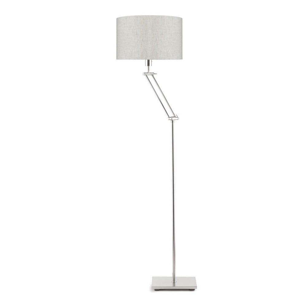 Sivá voľne stojacia lampa so svetlokrémovým tienidlom Citylights Dublin